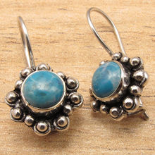 Hot Selling LARIMAR Gem WELL MADE Earrings ! Silver Plated Metal Jewellery 2.0 cm(China)