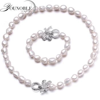 YouNoble Барокко 925 Серебро 100% Белый Естественные Пресноводные перлы Ювелирные Наборы жемчужное Ожерелье Браслет Ювелирные Наборы для женщин