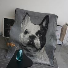 Cute Cat Dog Knitted Cotton Sofa Towel Throw Blanket Covers Decorative Slipcover on Sofa/Bed Travel Plaids Bed Cover Table Cloth(China)