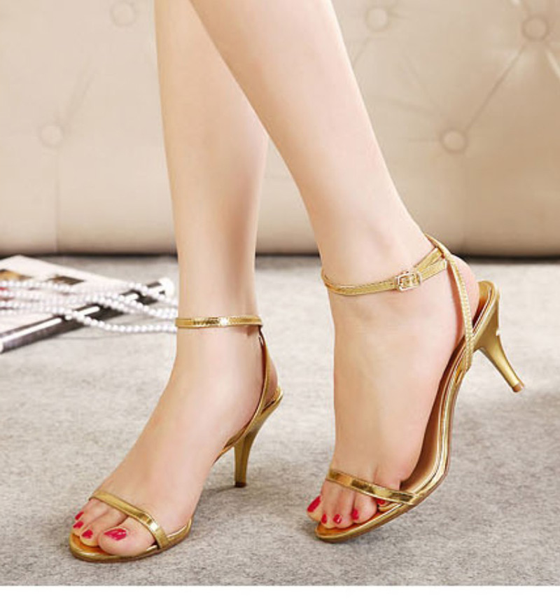 Simple Fresh Concise One Strap Sandals Women Ankle Strap Med Heel Kitten Stiletto Woman Shoes Gladiator Wedding Party White Gold<br><br>Aliexpress