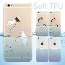 2015 Popular Marine Animals Transparent Blue Dolphins Penguins Polar Bears Sink Case Cover for iphone 5 5s 6 6 plus