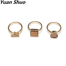 2017 new ring wood combination of geometric patterns of three groups of Europe and the United States simple wind ladies ring