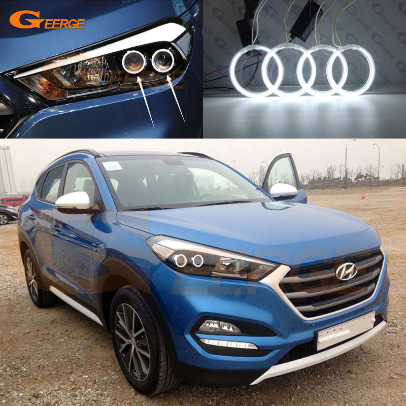For HYUNDAI TUCSON 2016 2017 DUAL PROJECTION HEADLIGHT Excellent Ultra bright illumination ccfl angel eyes kit halo rings<br>