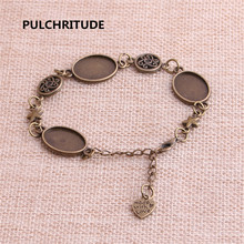 PULCHRITUDE 3pcs 22cm Alloy Antique Bronze Chain Bracelet Star Charm Oval Cabochon base Setting Fit 18.5*13.5mm Dia Women Z0062