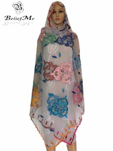 BM177! New 2017 Multi Color scarf Net Scraf Big Embroidery Big Scarf Soft material New multifunctional scarf ,shawls wraps(China)