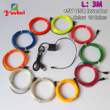 Fashion 2.3mm 3Meter 10 colors Waterproof EL wire Neon glow ligh long lifetime EL cable rope Cold light 5V wedding decor(China)