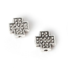 New Arrival 11pcs/bag 8*8mm Antique Sliver Plated Zinc Alloy Metal Charms Cross Beads For Jewelry Making Findings