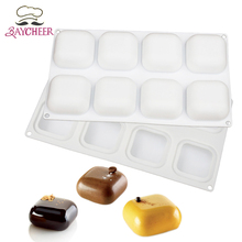 Baycheer 8 Cavity Square Silicome Mold Cake Pan DIY Mousse Jelly Chocolate Handmade Soap Candy Baking Supplies(China)