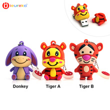 ieureka, 4GB 8GB 16GB 32GB 64GB Usb Flash Drive Pendrive Cute Donkey Tiger U Disk Pen Drive lovely tiger memory stick flash card