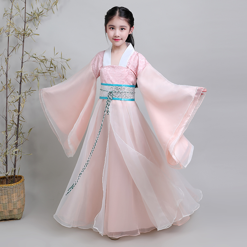 pink historical dress for girls birthday party clothing festival clothing for children ancient dynasty han fu historical clothes