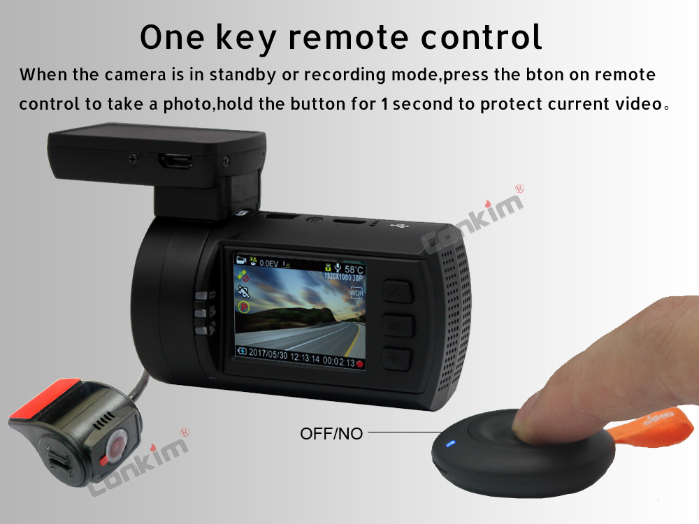 Conkim Mini 0906 Two Camera GPS Car DVR Registrar 1080P Full HD Rear View Camera Capacitor Dual Lens DVR Parking Guard Sensor 6