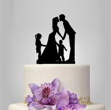 Groom Kiss Bride with Baby Children Design Rustic Cake Topper Gift Idea Custom Wedding Decoration Cake Toppers Family Members(China)