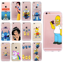 Homer Case for iphone 6 6s 5 5s SE 7 plus Simpson Cheap Fundas Stitch Minions Soft TPU Silicone Transparent Cover Unicorn Coque(China)