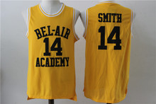 Fresh Prince of BEL AIR Jersey, #14 Will Smith Cheap Film Throwback Basketball Jerseys,Stitched Movie retro Yellow jersey(China)