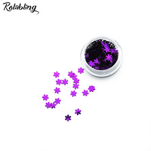 Rolabling 1PC/BOX Violet Snow Flake Design Nail Glitter Powder Dust Manicure Art Design UV Gel Polish Accessories For Nails