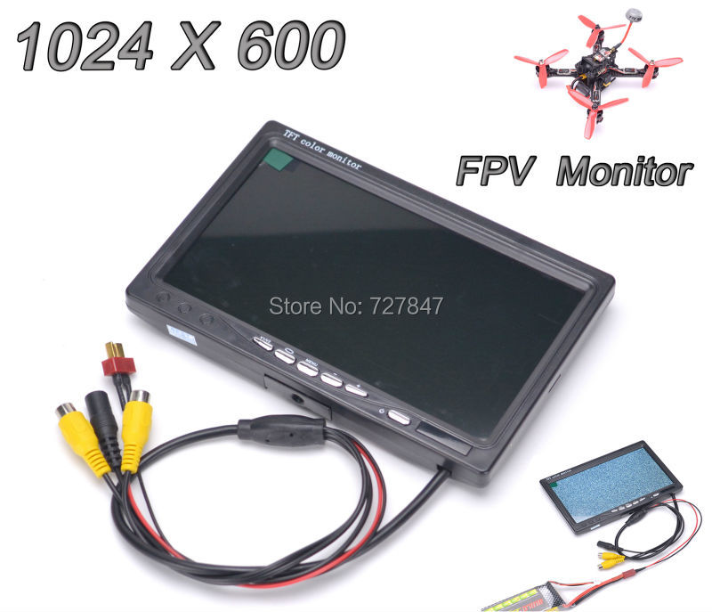 Newest 7 inch LCD TFT FPV 1024 x 600 Monitor with T plug Screen FPV Monitor Photography for Ground Station<br>