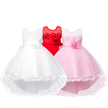 Fashion Girls Chiffon Dress Stylish Formal Sleeveless Flower Decoration Lacing Ball Gown Dress for Wedding Party 4-10 Years Girl