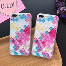Hot Colorful 3D Scales Square Hard Phone Cases For iPhone 7 Plus 7 6 6S Plus New Girls Mermaid Cover For iPhone 6 5s Case