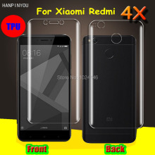 "Front/Back Full Coverage Clear Soft TPU Film Screen Protector For Xiaomi Redmi 4X 5.0"", Cover Curved Parts (Not Tempered Glass)"