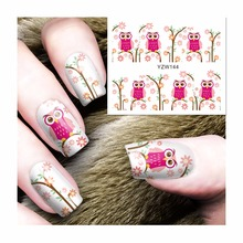 ZKO 1 Sheet Owl Designs DIY Decals Nails Art Water Transfer Printing Stickers For Nails Salon 144(China)
