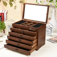 Organizador Storage Box Jewelry Box Wooden Princess European Style With A Mirror Storage Wedding Gift Makeup Organizer Case