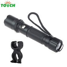 Led Rechargeable Flashlight Torch 3 Mode Non Adjustable Focus Hand Lantern Waterproof Portable Fishing Light with Bike Clamp(China)