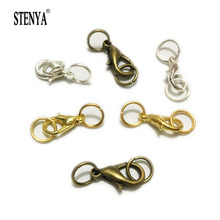 STENYA Lobster Claw Clasps Jump Ringssplit Ring Boho Kolye Making Hook Beads Crimp End Spring Nacklace Snap Chains connector set(China)