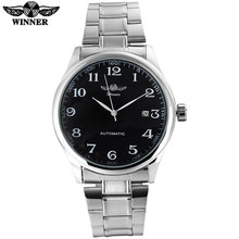 2017 WINNER famous brand men business automatic self wind watches black dial  transparent glass silver case stainless steel band