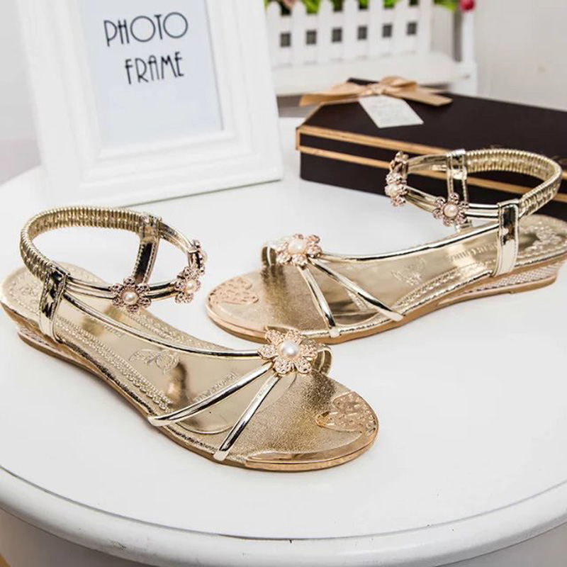 2017 summer new slope with Roman sandals Bohemia woman applique sweet low-heeled sandals, Free Shipping<br><br>Aliexpress