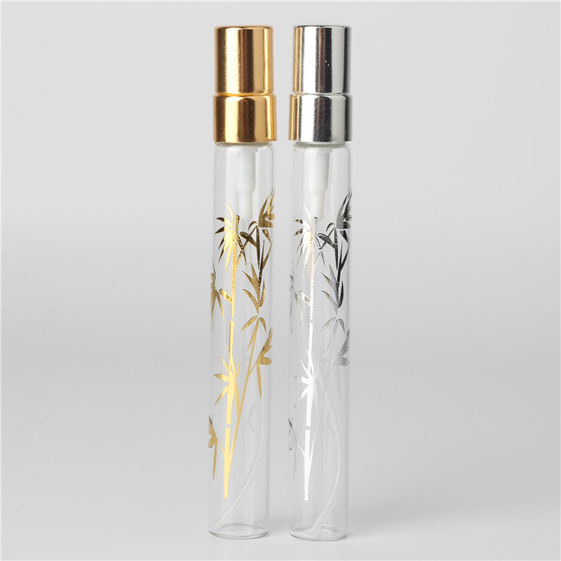 6Pcs 10ml clear bamboo crystal glass perfume spray bottle atomizer sample can be filled empty(China)