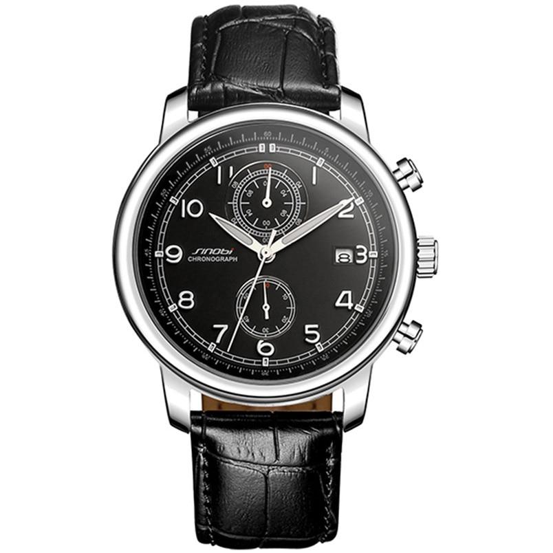 SINOBI Fashion Sports Mens Multifunction Wrist Watches Black Leather Watchband Top Luxury Brand Male Geneva Quartz Clock 2017<br><br>Aliexpress
