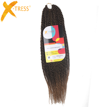 X-TRESS Ombre Kanekalon Synthetic Hair Extensions 35stands 104g/pack 20inches Red Senegalese Braiding Hair Twist Crochet Braids