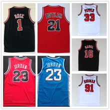 2016 #33 Retro Scottie Pippen Jersey Throwback,Stitched Logos Wholesale Cheap #1 Derrick Rose Basketball Jersey Black Red White(China)