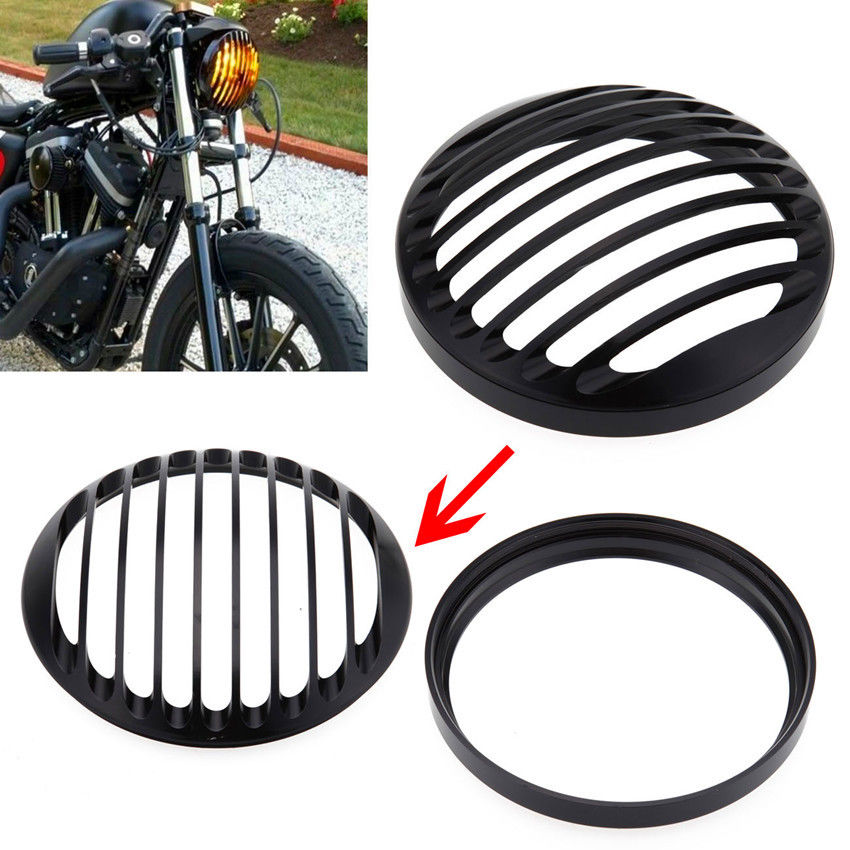 "5 3/4"" Black Round CNC Aluminum Motorcycle Headlight Grill Cover Motocicleta Lights For 2004-2014 Harley Sportster XL 883 1200(China (Mainland))"