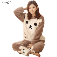 Women Pajama Sets 2017 Autumn winter Flannel Cartoon Warm Pyjamas Women Homewear Animal Sleepwear Cat female pajama(China)
