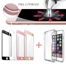 Luxury 9H Full Body Coverage Tempered Glass Screen Protector for IPhone 7 Plus 7Plus Film Guard with Free Clear TPU Case Cover