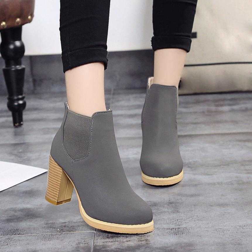 Best Gift 2017 Women Fashion Female Round Head Leather Ankle Boots High Heeled Martin Boots Wholesale Drop Shipping Dec30<br><br>Aliexpress