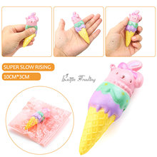 High Quality Squishy Rainbow Bunny Rabbit Ice Cream Super Slow Rising Kawaii Cute Phone Strap Pendant Bread Cake Scented Kid Toy