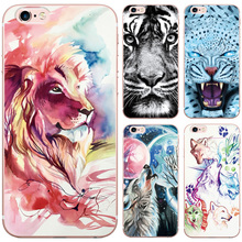 Hand Drawing Animals Tiger Leopard Lion Wolf Deer Pattern Case for iphone 5 5S SE Soft Silicon TPU Phone Back Cover Cases(China)