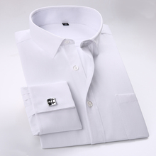 Men's French Cufflinks Solid Dress Shirts with Pocket Business Regular-fit Long Sleeve Twill/striped Shirt (Cufflinks Included)