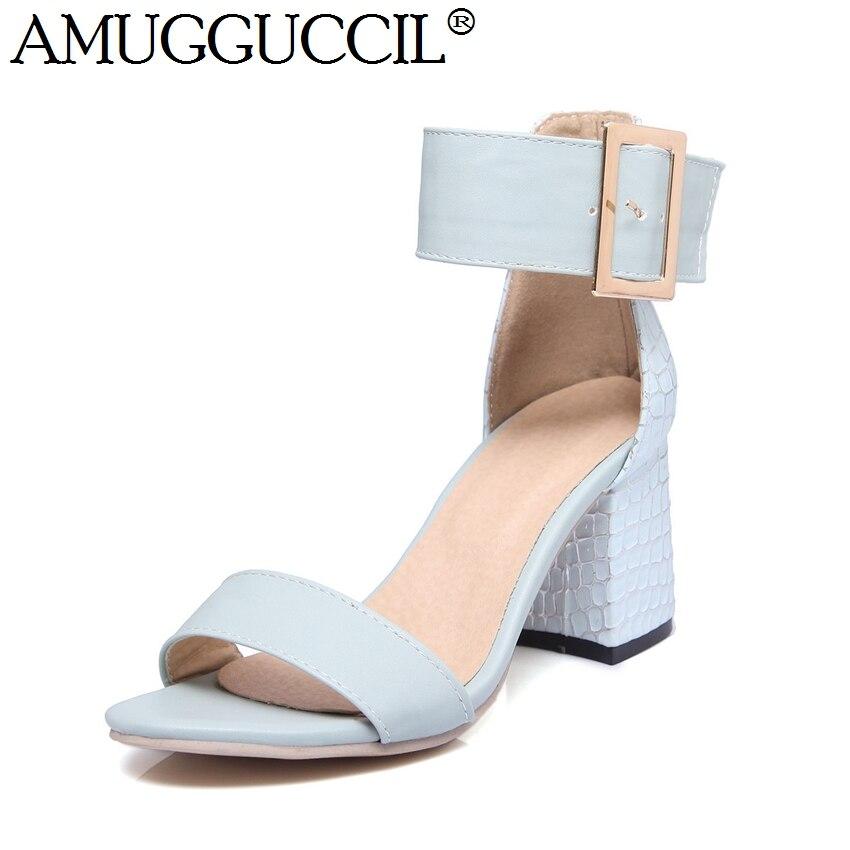 2018 New Plus Big Size 34-46 White Pink Blue Buckle Fashion Sexy High Heel Summer Girls Female Lady Women Sandals L935<br>