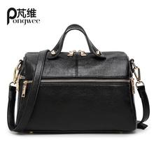 PONGWEE Crossbady Bag Classic Solid PU Leather Briefcase Men Sacoche homme Women's Tote Shoulder Bag Travel Handbag Suitcases