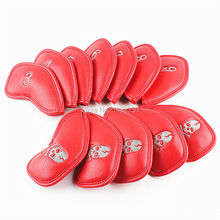 Thick PU Leather Red Golf Iron Headcover Number 3 4 5 6 7 8 9 AW SW PW Lob Wedge LW Free Shipping(China)