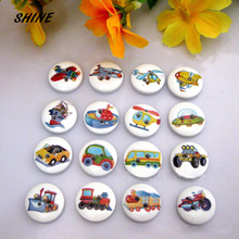 SHINE Wood Sewing Buttons Scrapbooking Round Colorful Mixed Two Holes Machine Pattern 15mm Dia. 50 PCs Costura Botones Decorate