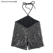 A Forever 2018 Spring Summer Women Tops Fashion Wrap Chest Sequin Strap Halter Lace Up Backless Vest Tank Tops Camisole M-706(China)