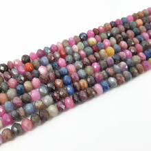 Lii Ji Natural Ruby Sapphire Flat Round Shape Faceted beads 4x6mm Approx 39cm DIY Jewelry Making Necklace Bracelet