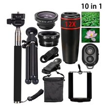 Buy 10 1 Phone Camera Lens 12x Lenses Fish Eye Lentes Wide Macro Lenses Selfie Stick Monopod Tripod Xiaomi iPhone Lens for $15.95 in AliExpress store