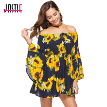 Jastie Slash Neck with Tie Sexy Mini Dress Sunflower Print Summer Dress Bohemia People Hippie Beach Dresses 2018 Women Vestidos(China)