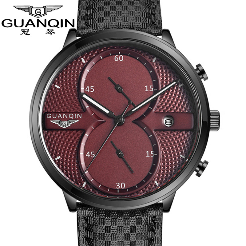 Luxury Watches Men Top Brand GUANQIN Military Sport Luminous Wristwatch Leather Quartz Watch men watches relogio masculino<br>