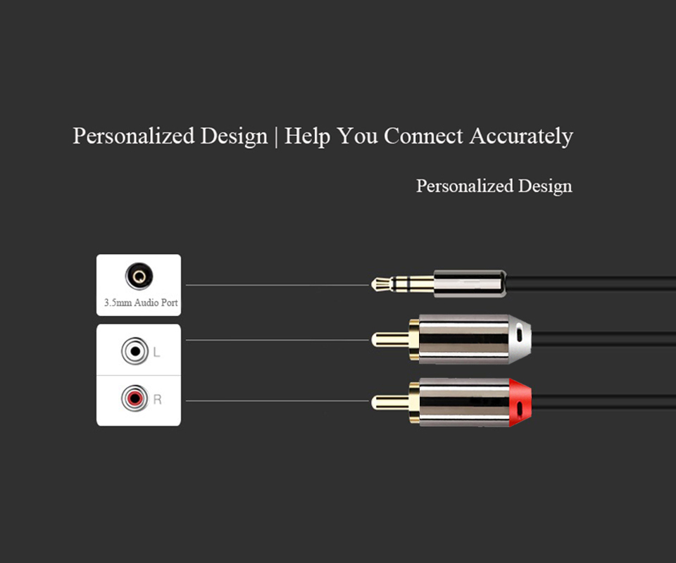 AUX to 2RCA Audio Cable Male 3.5mm Splitter Cable Homemade for iPhone Earphone DVD Computer Multimedia Amplifier MP3 MP4 Player (5)